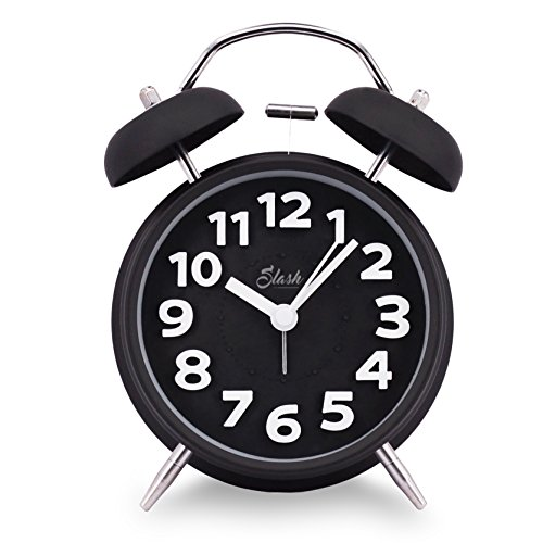 Slash 4 Vintage Retro Old Fashioned 3D Digitals Quiet Non-ticking Sweep Second Hand, Quartz Analog Clock, Battery Operated, Loud Alarm, Nightlight Function (Black) S10018