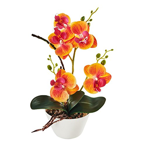 LOUHO Silk Flowers with Pot 31cm in Height Artificial Orchid Phalaenopsis Arrangement Flower Bonsai with Vase for Room Table Centerpieces-H:12(Orange)