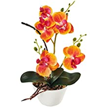 "LOUHO Silk Flowers with Pot 31cm in Height Artificial Orchid Phalaenopsis Arrangement Flower Bonsai with Vase for Room Table Decor-H:12""(Orange)"