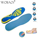 WOBAOS Memory Foam Orthopedic Silica Gel Shoe Insole, Sport Running Athletic Basketball Shoe Insoles Pads Inserts Pain Relief, Sports Insoles, Unisex Shoes. (6-10 US, Green / Blue)