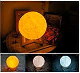 3D Moon Lamp,USB LED Night Light Magical Lunar Table Lamp Moonlight,Yellow Warm and White 3 Colors Change Tapping Control,Home Decorative Lights Baby Nursery Lamp for Kid Bedroom (15cm/5.9 inch)