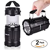LED Camping Lantern - LED Lantern with Flashlight Collapsible Tough Lamp Super Bright 300 Lumen Collapsible Outdoor Camping Lantern 2 Pack