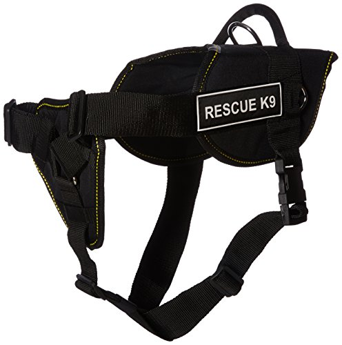 Dean & Tyler DT Fun ''Rescue K9'' Dog Harness with Padded Chest Piece, Fits Girth Size 32-Inch to 42-Inch, Large, Black with Yellow Trim by Dean & Tyler
