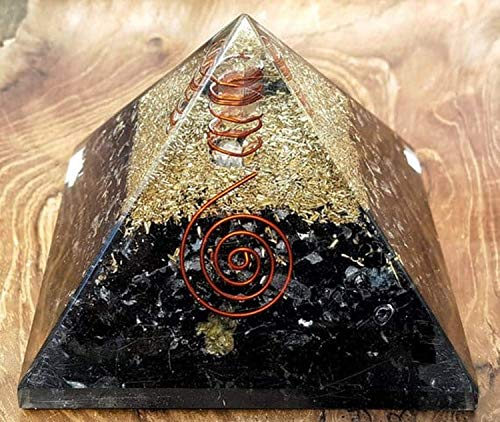 Black Tourmaline Orgone Pyramid Positive Energy Generator – Comes With Healing Stone Chakra Stones for Emf Protection – Used as Chakra Pyramid meditation Pyramid to Bring Peace Into Your Mind
