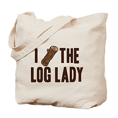 Heavyweight Canvas Log Tote - IrmaPetty I Love The Log Lady Twin Peaks - Natural Canvas Tote Bag, Cloth Shopping Bag