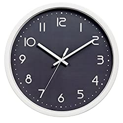 SkyNature Stylish Modern Decorative Wall Clock Elegant Style for Office and Classroom--Metal Frame and Glass Cover (12 Inch, Grey)