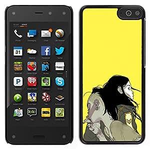 Be-Star Único Patrón Plástico Duro Fundas Cover Cubre Hard Case Cover Para Amazon Fire Phone ( Boy Girl Couple Smoke Yellow Painting Art )