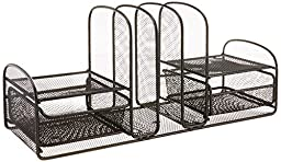 Safco Products 3263BL Onyx Mesh Desktop Organizer with 3 Vertical Sections/2 Baskets, Black