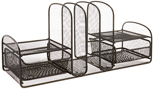 Safco Products Onyx Mesh 3 Sorter/2 Drawer Desktop Organizer 3263BL, Black Powder Coat Finish, Durable Steel Mesh Construction