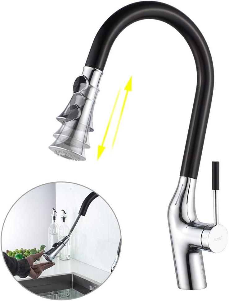 negro 360/° arco alto giratorio con pulverizador de lat/ón grifo de cocina extra/íble mango /único