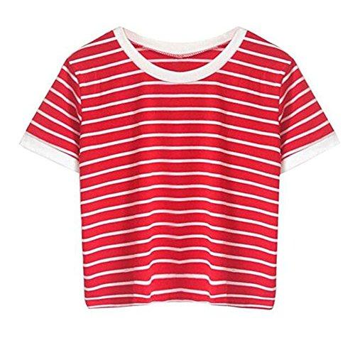 1e1e3ed5ff6d8 Amazon.com  Women Teen Girls Striped Cute Crop Top Belly Shirt Summer Tee T- Shirt Blouse Sale Clearance  Clothing
