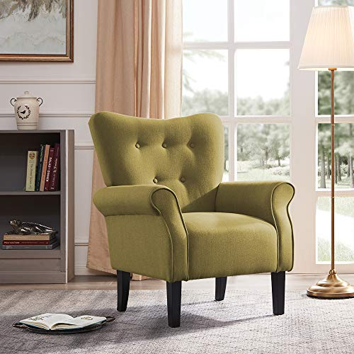 BELLEZE Modern Accent Chair Roll Arm Living Room Cushion Linen w/ Wooden Leg (Avocado)
