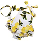 Fubin Baby Girl's Floral Print Ruffles Romper Summer Clothes with Headband 7-12 months yellow lemon