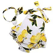 Fubin Baby Girl's Floral Print Ruffles Romper Summer Clothes With Headband,Yellow Lemon,0-6 months