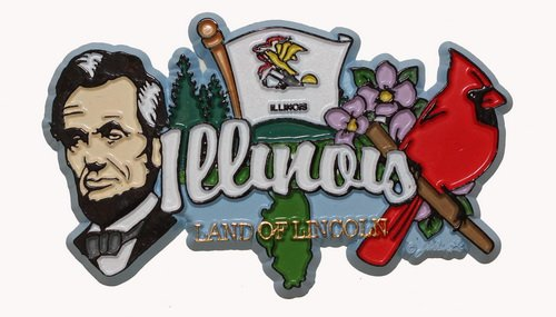 Illinois State Elements Fridge Collectible Souvenir - Fridge Magnet Collectible