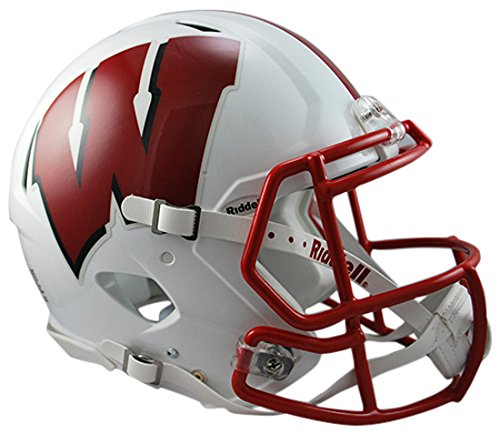 Riddell Sports NCAA Wisconsin Badgers Speed Authentic Helmet, White (Riddell Wisconsin Badgers Replica Helmet)