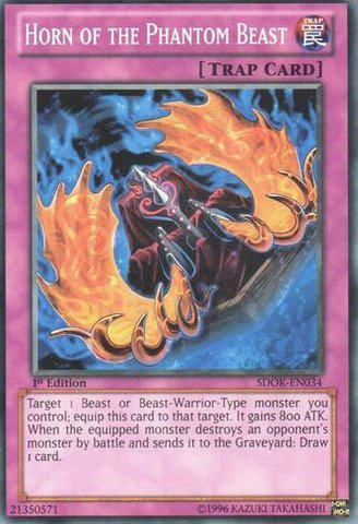 Yu-Gi-Oh! - Horn of the Phantom Beast (SDOK-EN034) - Structure Deck: Onslaught of the Fire Kings - 1st Edition - Common