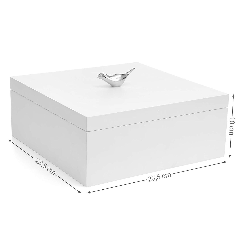 Blanc Organiseur /à Bijoux de 2 Niveaux avec Plateau D/émontable SONGMICS JOW11WT Bo/îte /à Bijoux en Bois composite Bonne id/ée Cadeau