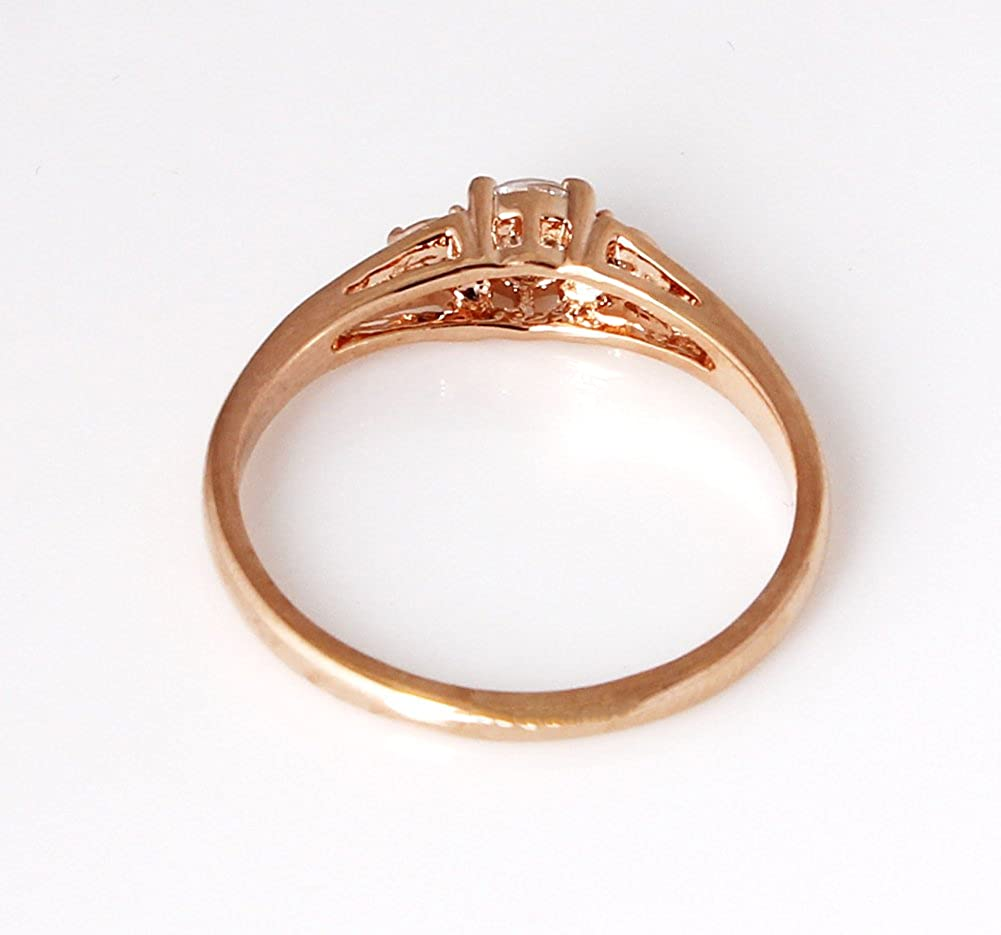 Acefeel Trendy Jewelry Gold Plated Fish Head Shape Three Austrian Drilling Wedding Ring R250