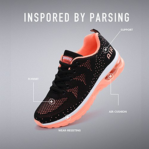 Monrinda Womens Air Running Trainers Lightweight Shock Absorbing Sneakers Breathable Casual Walking Sport Shoes Gym Athletic Jogging Fitness Ladies Black Pink meVDi6VA