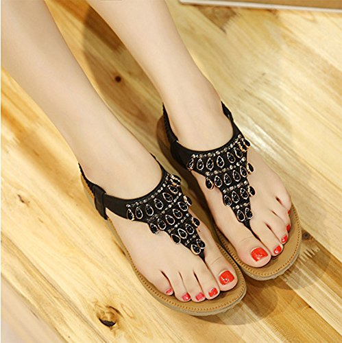 Minetom Mujer Verano Elegante T-Correa Diamante De Imitación Sandalias Estilo Bohemio Chanclas Peep Toe Plana Zapatos Zapatillas Negro