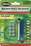 Slime 20089 2 Magnetic Pencil Tire Gauges 10-50 PSI with Bonus Aluminum Valve Caps