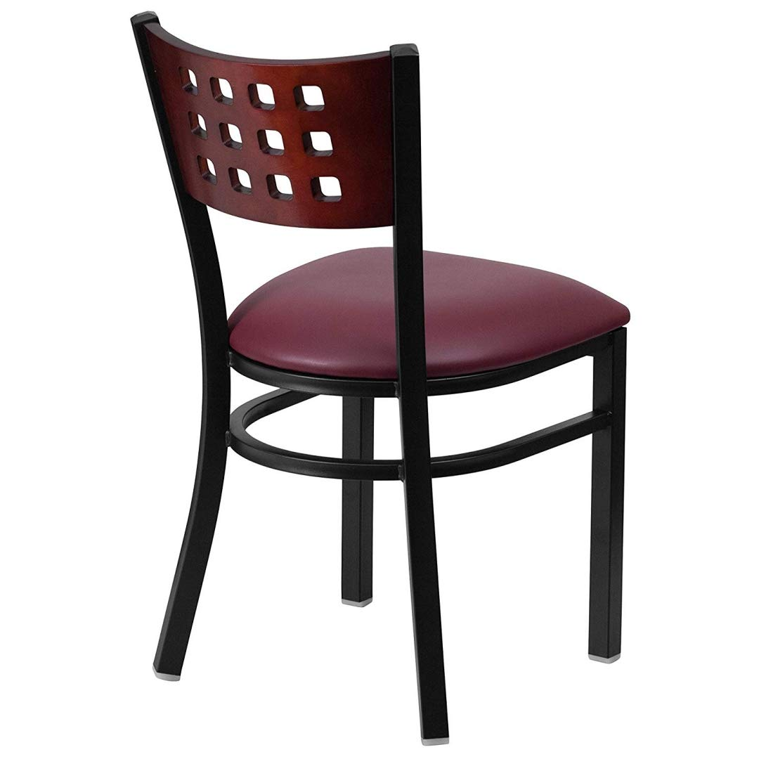 Modern Style Metal Dining Chairs Bar Restaurant Commercial Seats Mahogany Wood Cutout Back Design Black Powder Coated Frame Home Office Furniture - (1) Burgundy Vinyl Seat #2206 by KLS14 (Image #3)