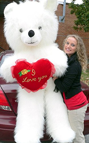 Big Plush 6 Foot Teddy Bear Giant White Teddybear With I Love You Heart Soft 72 Inch Made in USA