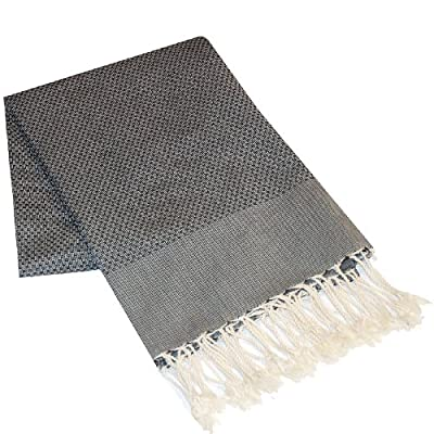 Scents and Feel 100-Percent Cotton Fouta Towel, Black, 78/38 - Very absorbant light and airy,soft towel that can be used as bath towel/beach towel/wrap/throw Made of 100-percent natural cotton 38-by-78-Inch; weighs less than 16-ounces - bathroom-linens, bathroom, bath-towels - 51i88VLnKNL. SS400  -