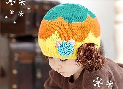 Los niños Cap gorro de lana de invierno para bebé niñas peluca Cap gorro de punto