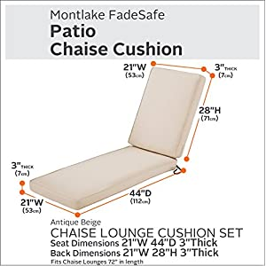 Classic Accessories Montlake Chaise Cushion Foam & Slip Cover, Antique Beige, 72x21x3 Thick