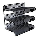 2 Trays Printer - Universal Office Products Mesh Three-Tier Desk Shelf, Letter, Black UNV20006