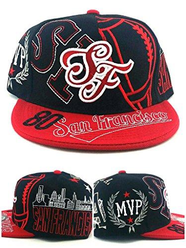 San Francisco SF New Leader Top MVP 80 Rice 49ers Colors Black Red Era Snapback Hat Cap