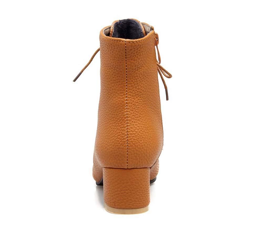 Frauen Kunstleder Stiefel Winter Starke Ferse Ferse Ferse Stiefelette Ferse Spitzen Stiefel Schnüren Hohe Blockabsatz Arbeit Vintage Brogue Mode Ankle Schuhe  8e7e99