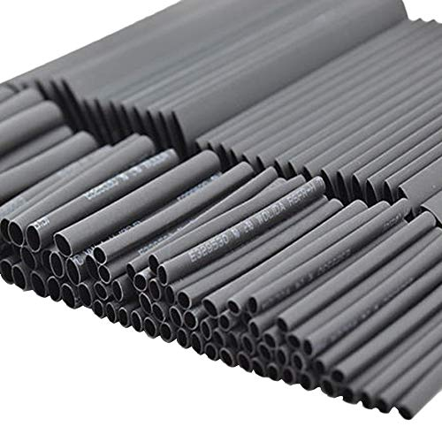 127pcs Heat Shrink Tubing Tube Assortment Wire Cable Insulation Sleeving Kit Black