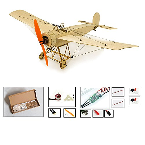 Dancing Wings Hobby Balsa wood airplane Kit Micro 3CH 378mm Fokker E by DW Hobby; Remote Control Balsawood Laser cut plane for adults;RC Un-assembled flying model for fun (K0804)