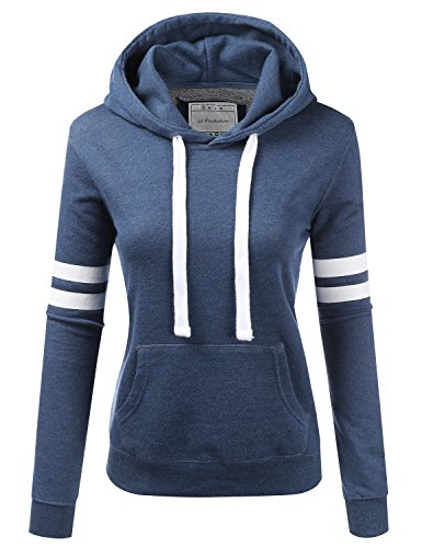 NINEXIS Womens Long Sleeve Terry Hoodie Double Arm Line Pullover Sweatshirts Denim XL