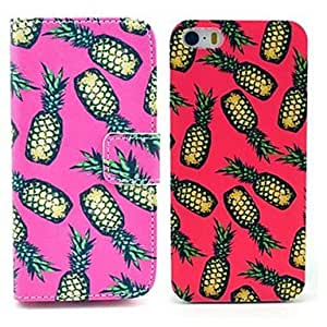 Mini - Pineapple Pattern PU Leather Case with Stand & PC Hard Case for iPhone 5/5S(2-pack)
