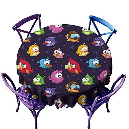 AndyTours Indoor/Outdoor Round Tablecloth,Funny,Angry Flying Birds Figure with