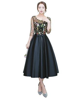 Drasawee Damen A-Linie Kleid Gr. 30, schwarz