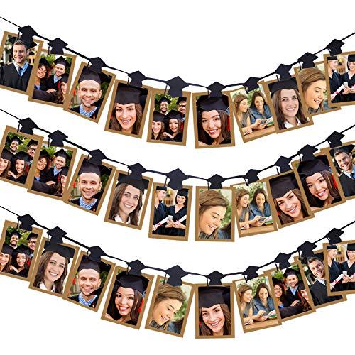 Aneco 30 Pieces Grad Cap Photo Banner Clip Garland Graduation Cap Shaped Photo Clip Garland for 2019 Graduation Party Decorations (Photo Garland)