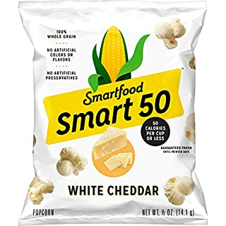 Smart50 Popcorn, White Cheddar, 0.5oz Bags (Pack of 36)