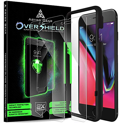 Abyss Gear Glass Screen Protector for iPhone 8 Plus 7 Plus (2 Pack), Double Strength Tempered Glass Shatter Resistant Cover with Installation Frame
