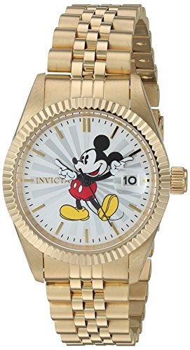 Invicta Women's 'Disney Limited Edition' Quartz Stainless Steel Casual Watch, Color:Gold-Toned (Model: 22775)