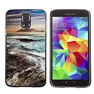 A-type Arte & diseño plástico duro Fundas Cover Cubre Hard Case Cover para Samsung Galaxy S5 (Sea Water Mountain Volcano Blue)