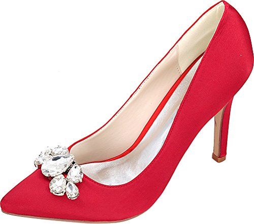 Wedding Salabobo Red Work Ladies Nightclub Pumps Bride Comfort 01b Satin Heeled 0608 Cour Pointed Shoes Job Ol Toe qrETYrw0x