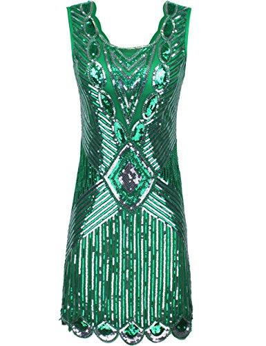 [PrettyGuide Women's 1920s Gatsby Sequin Art Deco Scalloped Hem Inspired Flapper Dress L Green] (1920 Dress)