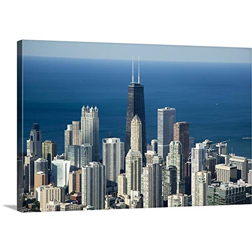 GREATBIGCANVAS Gallery-Wrapped Canvas Entitled Aerial View of a City, Hancock Building, Lake Michigan, Chicago, Cook County, Illinois by 18