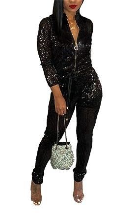 06ff31125a5 Amazon.com  LAJIOJIO Ladies Fashion Front Zipper Autumn Jumpsuit Sparkly  Clubwear Rompers  Clothing