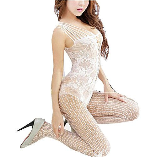 New Arrival!WYTong Sexy Women Open Crotch Bodystocking Lingerie Mesh Fishnet Babydoll For Sex (White, Free - 1 Shipping Day Free